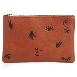 Madewell Leather Pouch Embroidered Icon Edition